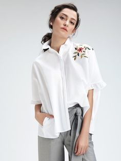Shop on-trend signature & exquisite women's new arrivals, home decor, accessories & shoes styled by Sussanne Khan, Malaika Arora Khan, and Bipasha Basu. Ruffle Shirt, White Tops, Work Wear, Bell Sleeve Top, Topshop, Spring Summer, Blouse, Stuff To Buy, Shirts