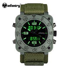ПЕХОТА Мужская Кварцевые Часы Новый Армия Зеленый Цифровые Часы Квадратное Лицо…