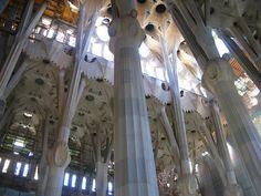 Gaudi designed the columns inside the Sagrada Familia to resemble trees. Joe Versus The Volcano, Columns Inside, Hotel W, Architectural Columns, Gaudi, Facade, Ceiling, The Incredibles, Travelogue