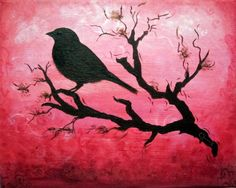 birds on flowering branches paintings | bird branch silhouette by cj x traditional art paintings landscapes ...