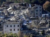 Damaged buildings in Arquata del Tronto following the powerful earthquake--Italy