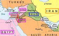 Mapa: Israel - Egipto- Libano - Jordania- Iraq -Iran - Turquia