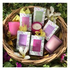 A basket full of candles !  Our new alluring floral fragrances will transport you to the delight os summer.   #SpringSummer2017 #NewCollection #Floral #Flowers #Fragrance #Candles #Freesia #Nicotiana #Hyacinth #SweetPea #Exotic #Frangipani #Niana #NianaCandles #FloralDelight #HandCrafted #SpringSummer #EcoFriendly  #ScentedSoyCandles #Summer #HomeFragrance