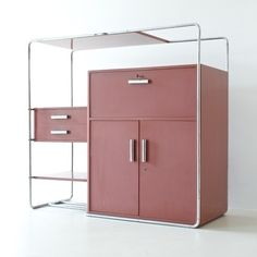 roomonfiredesign:  Inspired by the tubular steel furniture that Thonet produced for Bauhaus master Marcel Breuer, Bruno Weil – architect and artistic director of the Parisian division Thonet-Frères – developed more than 30 vanguard designs in the 1930s including this rare 'B290 Cabinet' (1932).