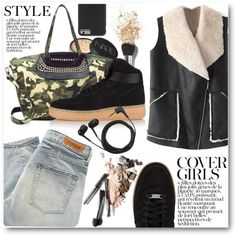 Street Style by stylemoi-offical on Polyvore featuring Denham, NIKE, Case-Mate, NARS Cosmetics, Sennheiser, Chanel, shearlingcoat and stylemoi