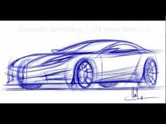 How to Draw Cars - Sketching a car in 3-4 View Vid 1