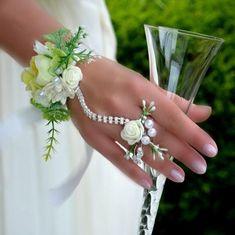 Bridal jewelry - wedding bracelet and ring - a designer product by Wandadesign be . - Bridal jewelry – wedding bracelet and ring – a unique product by Wandadesign on DaWanda - Prom Flowers, Bridal Flowers, Homecoming Flowers, Wedding Trends, Wedding Designs, Bracelet Corsage, Bridesmaid Corsage, Prom Corsage, Wrist Corsage Wedding