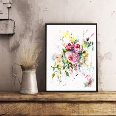 Pink English roses Watercolor Painting For Her Home Decor