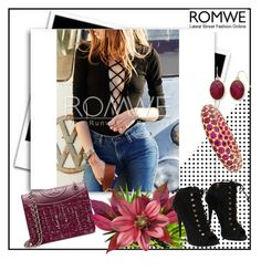 """""""WIN A ROMWE BLACK LACE UP BLOUSE"""" by fashionb-784 ❤ liked on Polyvore featuring Giuseppe Zanotti, Tory Burch and Liz Claiborne"""