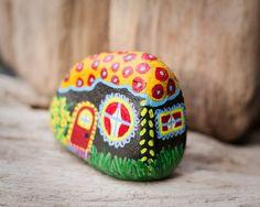 Tiny Magic Fairy House  Hand Painted on Beach Stone by artbyhollyb, $20.00