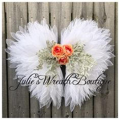 Best 12 Excited to share this item from my shop: Angel Wings Iridescent Faith Rainbow Baby Remembrance Mother's Day x x Memorial Pink Floral Wreaths 2018 – Page 704954147902246783 Christmas Tree Flowers, Christmas Wreaths, Christmas Crafts, Xmas, Wreath Crafts, Diy Wreath, Tulle Wreath Tutorial, Burlap Flower Tutorial, Deco Mesh Wreaths