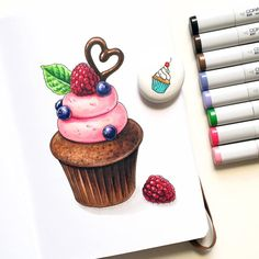 Marker Kunst, Copic Marker Art, Copic Art, Copic Markers, Copic Drawings, Art Drawings Sketches, Cute Drawings, Cupcake Drawing, Cupcake Art