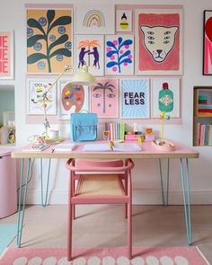 Room Colors, House Colors, Desk For Girls Room, Office Decor, Home Office, Pastel Bedroom, Pastel Living Room, Colorful Apartment, Pastel Decor