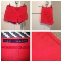 """Zara Basic Women's Shorts Women's shorts by Zara Basic, size small, 2"""" inseam, color is fiery coral. Tiny stain near left pocket, as shown. Work-appropriate design & A real crowd-wower with that fun color.  Zara Shorts"""