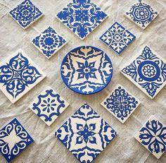 Pottery Painting, Ceramic Painting, Ceramic Art, Turkish Art, Blue Tiles, China Painting, Glazes For Pottery, Stencil Painting, Hand Painted Ceramics
