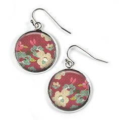 FLOWERS - Glass Picture Earrings - Silver Plated (Art Print Photo F8) by RosettaLondon on Etsy