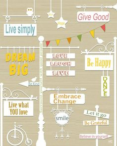 Positive inspiring words signs wall art