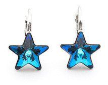 Swarovski Star Earrings Bermuda Blue Leverback Drop Tiny Sterling Silver Earring Jewelry