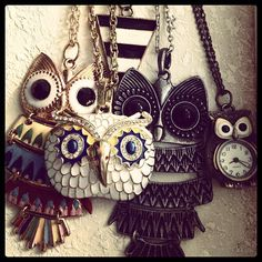 Owl Necklaces ♥ I have one for almost everyday of the year :3