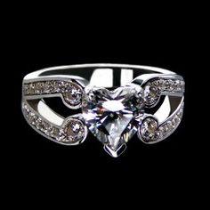 1.13 CT Sweet Heart 925 Sterling Silver Plated Platinum Cubic Zirconia Women Ring/Engagement Ring
