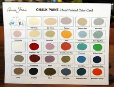 CHALK PAINT :: Annie Sloan Chalk Paint Color Chart :: You can mix paints, apply wax to create old world patina, dilute to create a wash showing wood grain, use it as an impasto (thickly)--just leave the lid off to thicken.