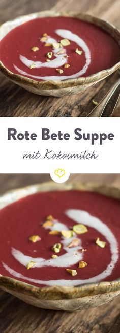 Da kommt Farbe auf deinen Teller! Frische Rote Bete, Pastinake und Kokosmilch vereinen sich zu einer wunderbar cremigen Suppe.