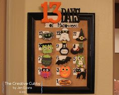 DIY 13 Days of Halloween Countdown Calendar - activities are attached with magnets so they can be changed from year to year.  All materials from @Michaels Stores