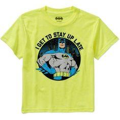 DC Comics Batman Boys' Stay Up Late Graphic Tee, Size: 18, Yellow