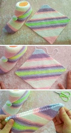 Simple Step by Step Slippers Tutorial - Free Knitting Patterns - Knitting for beginners,Knitting patterns,Knitting projects,Knitting cowl,Knitting blanket Diy Crafts Knitting, Loom Knitting, Knitting Socks, Knitting Patterns Free, Free Knitting, Crochet Projects, Sewing Patterns, Crochet Patterns, Kurti Patterns