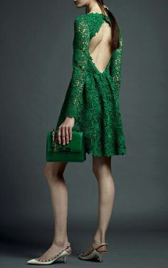Valentino - Emerald Backless Lace Dress ($5,980) (a)