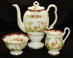 Royal Albert China Patterns Rare, chelsea bird | Royal Albert Nosegay Small 2 Cup Coffee Pot with Lid