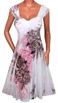 I found 'WHITE SUBLIMATION SLIMMING EMPIRE WAIST DRESS NEW Plus Size' on Wish, check it out!