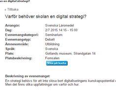 Varför behöver skolan en digital strategi - seminarium i #Almedalen 2015 http://www.almedalsveckan.info/event/user-view/25021?redir=%23eidx_1 .
