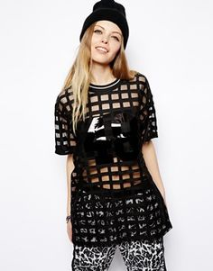 ASOS Tunic In Grid Mesh with Plastisol Number - MR