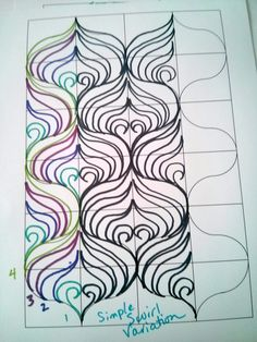 Swirl Variation 2 continuous quilting from Mandalei Quilts Quilting Stitch Patterns, Quilting Templates, Quilt Stitching, Longarm Quilting, Zentangle Patterns, Free Motion Quilting, Quilting Tips, Quilting Tutorials, Quilt Patterns