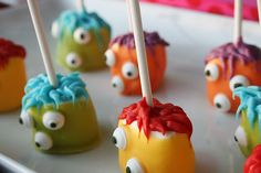colorful monster bash birthday party diy marshmallow treats. see more at www.karaspartyideas.com