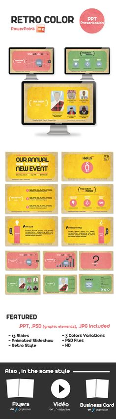 Retro Color Powerpoint Presentation  #green #dj #powerpoint • Click here to download ! http://graphicriver.net/item/retro-color-powerpoint-presentation/340822?s_rank=95&ref=pxcr