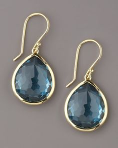 From the Rock Candy Collection. 18-karat yellow gold setting. Faceted London blue topaz drops. Pierced backs. Imported.