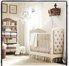 Although we are not repainting the Baby's room, I find that I do love all white/ivory baby rooms. I especially like the side of the crib!