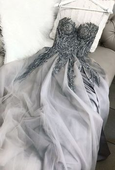 Gray sweetheart tulle lace long prom dress gray tulle formal dress - 2020 New Prom Dresses Fashion - Fashion Of The Year A Line Evening Dress, Formal Evening Dresses, Elegant Dresses, Pretty Dresses, Evening Gowns, Beautiful Dresses, Dress Formal, Champagne Evening Dress, Best Formal Dresses