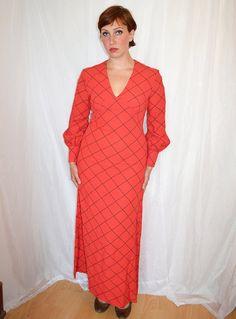 Vintage Red Dress Long Maxi 60s 70s Estrava A by MoonWalkVintage, £45.00