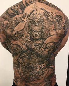 Healed Fudo Myoo by Tony ( done at Chronic Ink Tattoo - Toronto, Canada God Tattoos, Life Tattoos, Body Art Tattoos, Sleeve Tattoos, Tribal Tattoos, Tattoos For Guys Badass, Back Tattoos For Guys, Full Back Tattoos, Full Body Tattoo