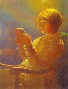 """beautifuldavinci: """"  Lesende bei Lampenschein, 1918 Leon Kamir Kaufmann """""""