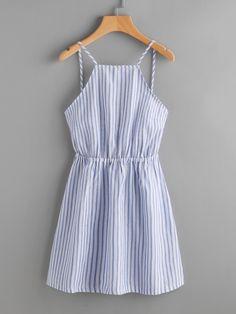 Striped Cut Out Bow Tie Open Back Cami Dress -SheIn(Sheinside)
