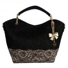 Bolso mano Blumarine piel negro con encaje sanci.es Shoulder Bag, Bags, Diy, Products, Fashion, Lace, Black, Handbags, Moda