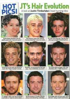 The evolution of Justin Timberlake's hair.