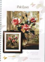 """Gallery.ru / dafi123 - Альбом """"mm"""" Rose In A Glass, Pink Roses, Painting, Cross Stitch Embroidery, Ideas, Punto De Cruz, Dots, Flowers, Squares"""