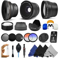Complete Lens and Filter Kit for 58MM CANON REBEL and EOS Series Cameras including T3i 60D 7D 6D 5D T2i T1i XT XTi XSi - Includes: .35x Super Wide Fisheye Lens + 0.43x Wide Angle Lens + 2.2x Telephoto Lens + Filter Kit (UV CPL ND4) + Wireless Remote Control + Macro Close-Up Set + Collapsible Lens Hood + Tulip Lens Hood + Center Pinch Lens Cap + 2 Color Filters + Flash Diffuser Set + Lens Cleaning Pen + Deluxe Cleaning Kit + 4 MagicFiber Microfibers:Amazon:Camera & Photo