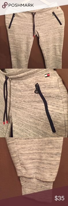 TH Sweatpants Heathered grey sweat pants from Tommy Hilfiger. They are a size extra small but they fit as a small. Zipper pockets. As good as new. Tommy Hilfiger Pants Track Pants & Joggers