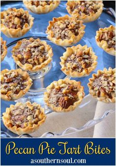 Pecan Pie Tart Bites – A Southern Soul Pecan Pie Tart Bites are a fun little treat loaded with all the flavor of a regular slice of pie! Easy to make with the help of store bought Phyllo cups, this dessert comes together in less than 30 minutes. Köstliche Desserts, Delicious Desserts, Dessert Recipes, Yummy Recipes, Custard Recipes, Plated Desserts, Pie Recipes, Recipies, Desert Recipes